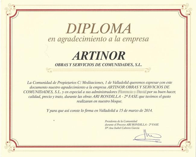 Certificado Vecinos ARI Rondilla